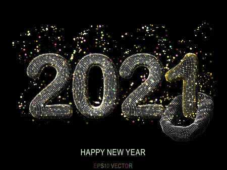 Happy New Year greeting glamorous postcard: 3D golden glittering text 2021 with shiny sparkles on black background. Concept of 2021 New Year celebration. New Year festive vector illustration. Illustration