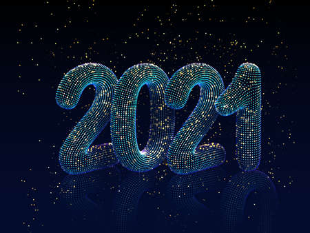 Happy New Year greeting postcard: 3D neon glowing text with golden shiny sparkles on blue background. Concept of 2021 New Year celebration. New Year festive vector illustration.