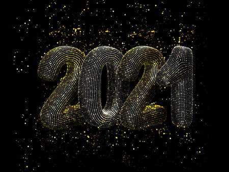 Happy New Year greeting glamorous postcard: 3D gold and silver text 2021 with shiny golden sparkles on black background. Concept of 2021 New Year celebration. New Year festive vector illustration.