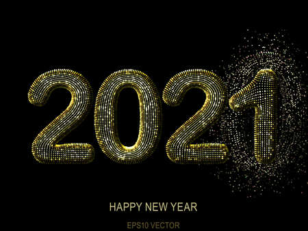 Happy New Year greeting glamorous postcard: 3D golden glittering text 2021 on black background. Concept of 2021 New Year celebration. New Year festive vector illustration.