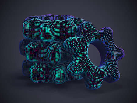 Stack of 3D digital gears on gray background. Abstract vector illustration of futuristic cogwheels made of neon dots. Business partnership, process workflow optimization, software development concept.