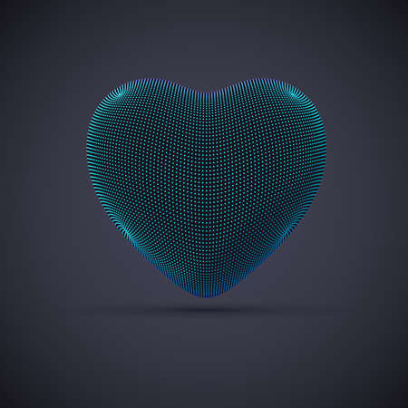 3D digital futuristic blue heart on gray background. Abstract vector illustration of online dating and virtual love. Concept of digital technology in medicine. Greeting postcard for Valentines Day.