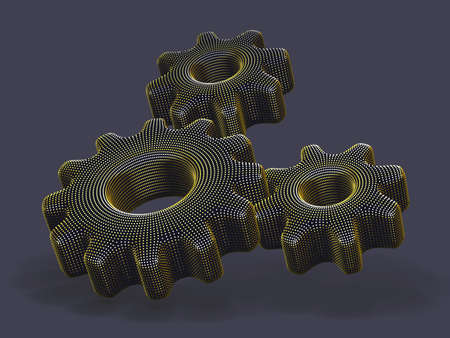Three 3D gears made of yellow dots on gray background. Abstract vector illustration of digital golden futuristic cogwheels. Concept of business partnership, teamwork and successful business solution.