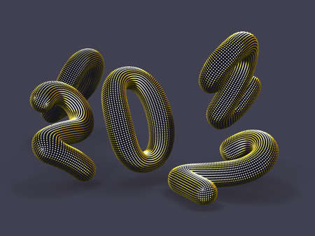 Scattered 3D golden numbers on gray background. Floating digital numbers made of yellow dots. Business, finance or investment abstract concept. EPS 10, vector illustration. Illustration