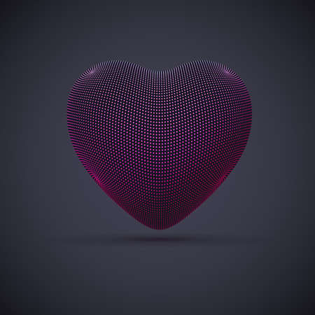 3D digital futuristic pink heart on gray background. Abstract vector illustration of online dating and virtual love. Concept of digital technology in medicine. Greeting postcard for Valentines Day. Illustration