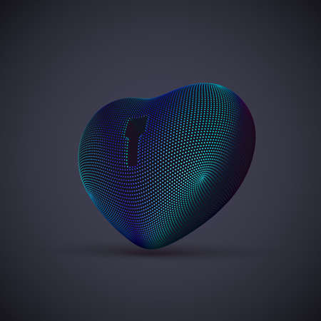 3D digital futuristic blue heart with keyhole on gray background. Abstract concept of online dating and virtual love. EPS 10, vector illustration. Illustration