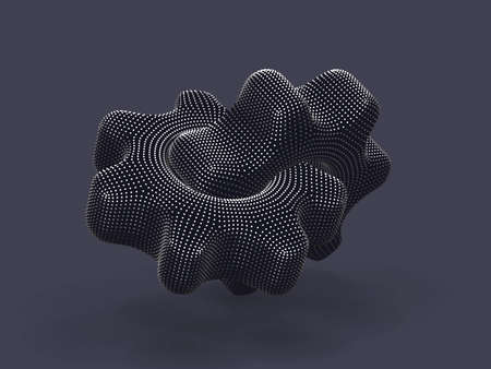 3D gears made of digital dots on gray background. Abstract vector illustration of silver futuristic cogwheels. Concept of business partnership, teamwork or successful business solution.