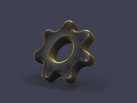 3D gear made of yellow dots on gray background. Abstract vector illustration of digital golden cogwheel. Concept of software setup, program settings and online support.