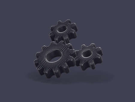 Three 3D gears with shadow on gray background. Abstract vector illustration of digital silver cogwheels connection. Concept of business partnership, teamwork and successful business solution.