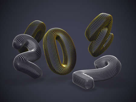 Scattered 3D golden and silver numbers on gray background. Floating digital numbers made of yellow dots. Business, finance or investment abstract concept.