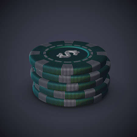 Digital 3D poker chips stack on gray background. Online gambling and virtual casino games. Stock exchange abstract concept: earning profit on currency exchange differences.   vector illustration.