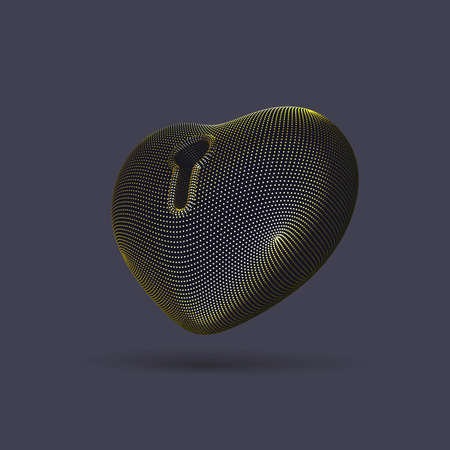 3D golden heart with keyhole on gray background. Abstract concept of online dating and virtual love: futuristic digital heart shape. Happy Valentines Day postcard,  vector illustration. Illustration
