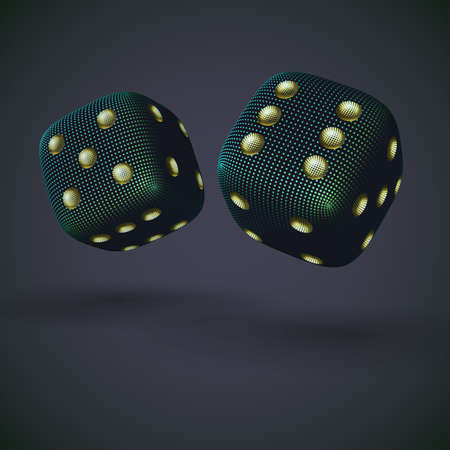 Digital 3D falling casino dices on gray background. Online gambling and virtual casino games. Concept of fortune, success and online betting: craps game play.   vector illustration.