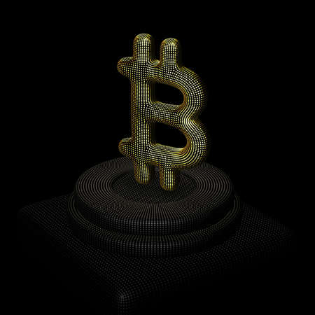 Golden 3D Bitcoin sign standing on pedestal. Concept of blockchain technology, crypto investment business and stock trade: Bitcoin cryptocurrency sign made of yellow dots. Vector illustration, EPS 10. Illustration
