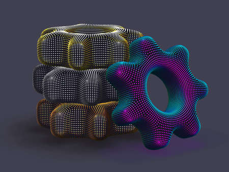 Stack of 3D digital multicolored gears on gray background. Abstract vector illustration of futuristic cogwheels made of dots. Business partnership, teamwork and process workflow optimization concept.