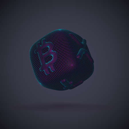Digital 3D dice with cryptocurrency logos Bitcoin, Litecoin and Ripple on gray background. Concept of luck and fortune in crypto investing and stock exchange trading. Vector illustration