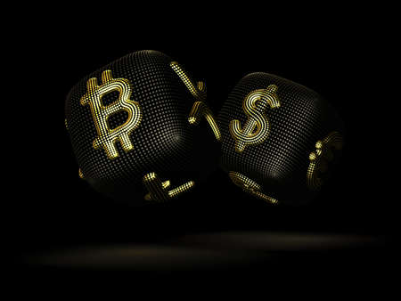 Digital 3D dices with cryptocurrency and fiat currency golden signs Bitcoin and Dollar. Black background. Concept of fortune in crypto investing and stock exchange trading. Vector illustration