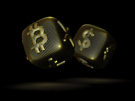 Digital 3D golden dices with cryptocurrency and fiat currency signs Bitcoin and Dollar. Concept of fortune in crypto investing and stock exchange trading. Black background. Vector illustration