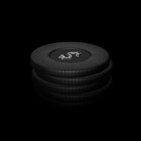 Digital 3D poker chips stack on black background. Online gambling and virtual casino games. Stock exchange abstract concept: earning profit on currency exchange differences, vector illustration