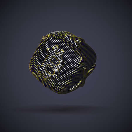Digital golden 3D dice with cryptocurrency logos Bitcoin, Litecoin and Ripple on gray background. Concept of luck and fortune in crypto investing and stock exchange trading. Vector illustration