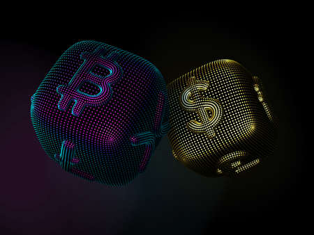 Digital 3D dices with cryptocurrency and fiat currency signs Bitcoin and Dollar. Black background. Concept of fortune in crypto investing and stock exchange trading. Vector illustration Illustration