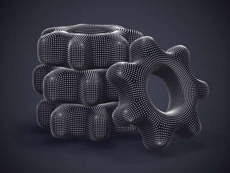 Stack of 3D silver gears on gray background. Abstract vector illustration of digital futuristic cogwheels made of gray dots. Concept of business partnership, teamwork or successful business solution