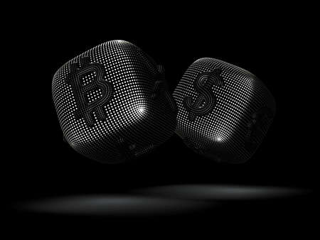 Digital 3D silver dices with cryptocurrency and  currency symbols Bitcoin and Dollar. Concept of fortune in crypto investing and stock exchange trading. Black background. Vector illustration. Illustration