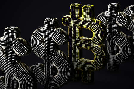 Digital golden 3D Bitcoin  currency logo in a row with US Dollar signs on gray background. Concept of successful  investing and stock exchange trading. Vector illustration, EPS 10. Illustration
