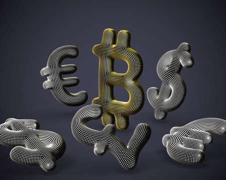 Digital golden 3D Bitcoin  currency surrounded by scattered fiat currencies signs on gray background. Concept of investing and stock exchange trading. Vector illustration, EPS 10. Illustration