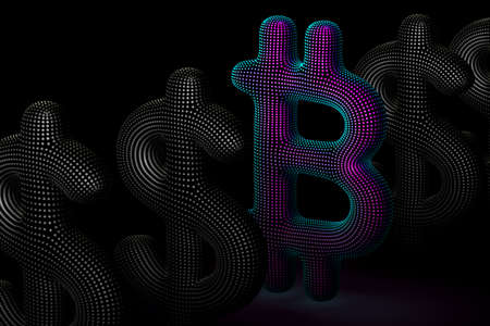 Bitcoin cryptocurrency digital 3D logo in a row with US Dollar signs on gray background. Concept of successful crypto investing and stock exchange trading. Vector illustration, EPS 10.
