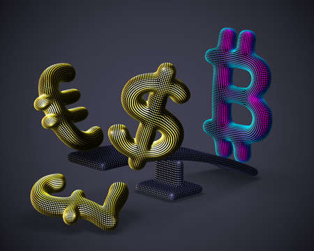 Bitcoin cryptocurrency 3D logo outweighs golden dollar, euro and pound signs on swing on gray background. Cryptocurrency value growth and stock exchange trading concept. Vector illustration