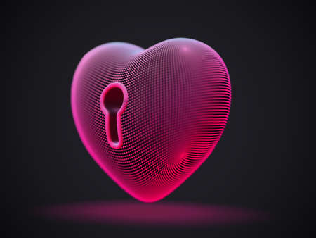 3D red heart with keyhole on gray background. Abstract concept of online dating and virtual love: futuristic digital heart shape. Happy Valentines Day postcard, EPS10 vector illustration. Illustration