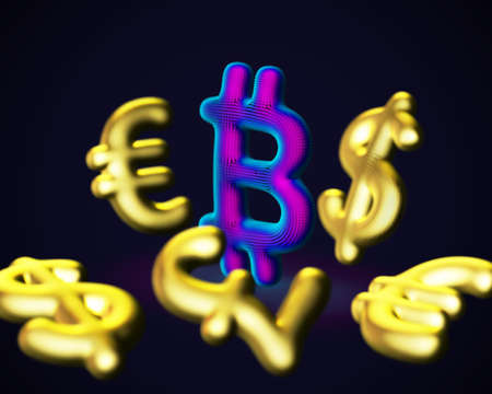 Digital 3D Bitcoin cryptocurrency logo surrounded by scattered golden fiat currencies signs on blue background. Concept of crypto investing and stock exchange trading. Vector illustration