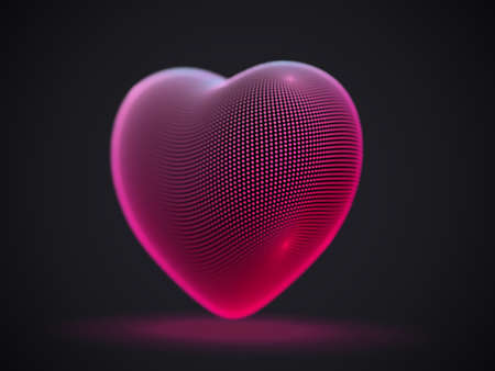 3D digital futuristic pink heart on gray background. Abstract vector illustration of online dating and virtual love. Concept of social media: digital heart icon. Greeting postcard for Valentines Day. Illustration