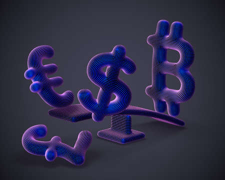 Bitcoin cryptocurrency 3D logo outweighs dollar, euro and pound signs on swing on gray background. Cryptocurrency value growth and stock exchange trading concept. Vector illustration Illustration