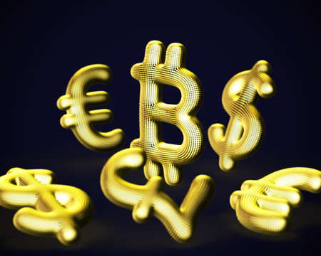 Digital golden 3D Bitcoin cryptocurrency logo surrounded by scattered fiat currencies signs on blue background. Concept of crypto investing and stock exchange trading. Vector illustration
