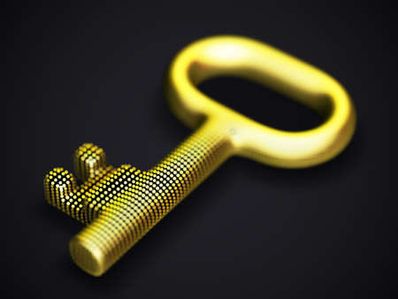 Digital 3D golden key on black background. Concept of data value, cyber security and business data protection: key made of digital yellow dots. EPS 10, vector illustration.