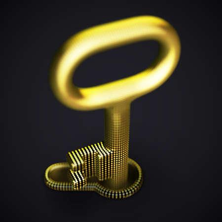 Digital 3D golden key in keyhole on black background. Illustration