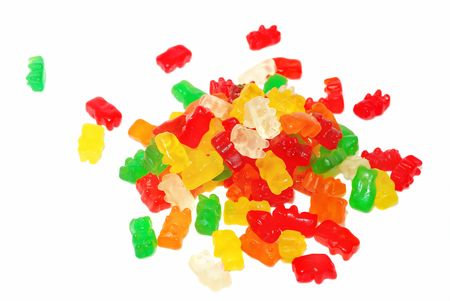 teats: Colorful jelly bearsisolated on the white.  Stock Photo