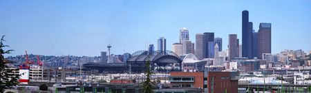 Panorame for Downtown of Seattle in foggy industrial morning.   photo
