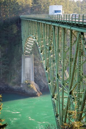 Transportation brige .Deception Pass State park in Washington, USA