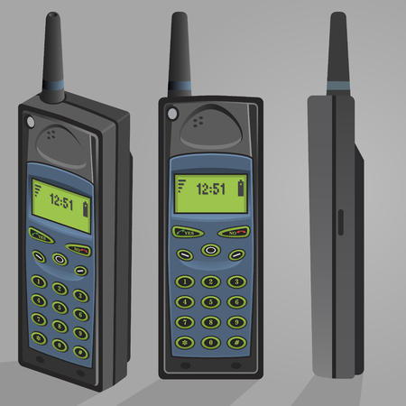 Illustration of old mobile phone vector; Retro vintage cell phone from 80s high detailed perspective view Ilustrace