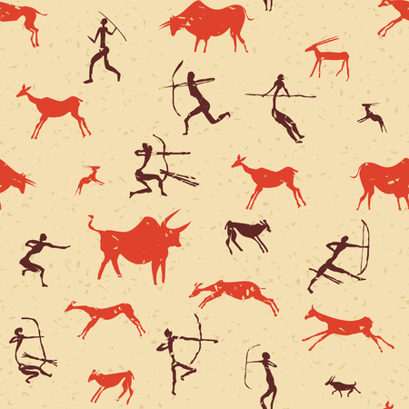 Set of rock paintings vector pattern