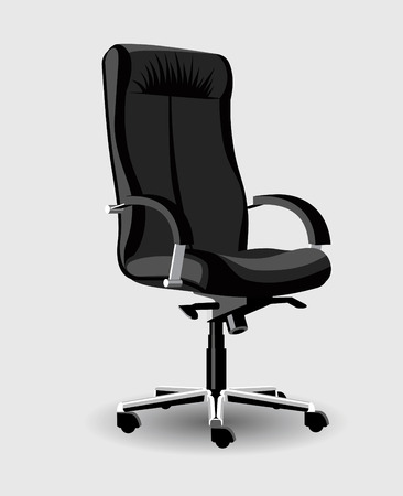 Black high detail leather office chair with arms for boss vector; office chair high detail;