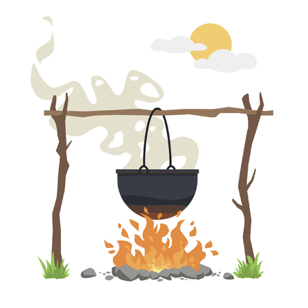 Black camping pot over a bonfire vector flat illustration isolated; A delicious fish soup