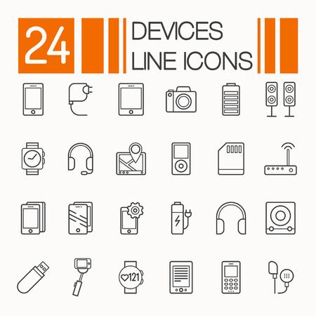 Set van elektronische apparaten plat dunne lijn iconen vector