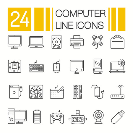 Computer Hardware Icons. PC Components and devices thin line vector