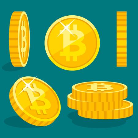 Vector flat gold coins icon with Bitcoin sign Illusztráció