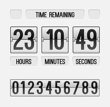 Time remaining countdown website timer template; White count down flip board with scoreboard of hour, minutes and seconds for web page