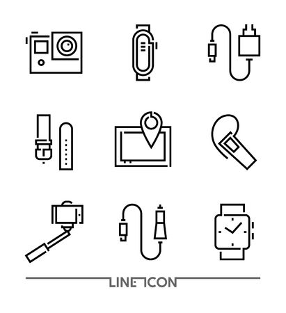 Set of Electronic Devices flat thin line Icons vector; Electronic Appliances; Mobile Accessories Stockfoto - 107502683